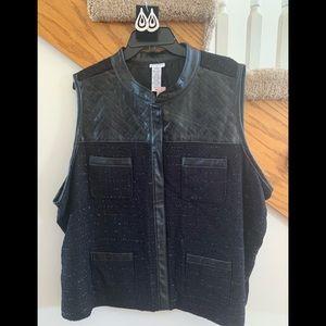 Plus Size Black Vest with Faux Leather Trim